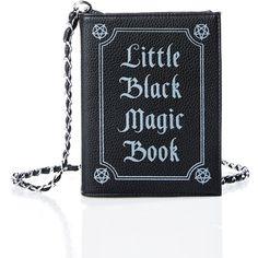 Current Mood Little Black Magic Book Bag ($25) ❤ liked on Polyvore featuring bags, handbags, clutches, purses, purse shoulder bag, cross-body handbag, crossbody hand bags, handbag purse and polka dot purse