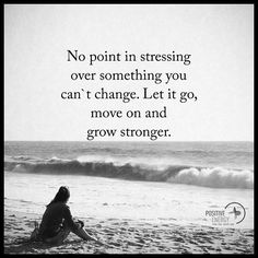 No pint in stressing over something you can't change. Let it go, move on and grow stronger. #positiveenergyplus