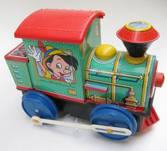 Vintage Tin Litho Disney Mechanical Toy Train