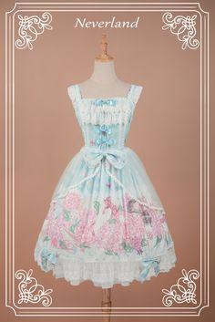 "Blue and Pink ""Perfume of Hydrangea"" Neverland Lolita JSK Jumper Dress"