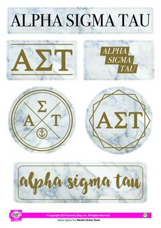 "Get your ""Greek On"" with these high quality, Marble stickers! Each sheet contains 6 stickers that are unique to your sorority. Printed on sturdy vinyl, they are easily removed or repositioned leaving"