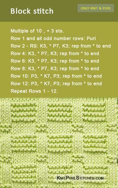 The Blocks stitch pattern includes both written and charted directions.