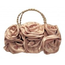 BLACK RED PURPLE GOLD RUFFLE ROSE BURLESQUE 50'S RETRO SMALL EVENING HAND BAG