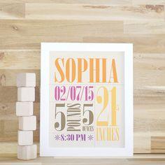 Nursery Wall Art, Baby Birth Print, Baby Name Art, Baby Gift in Yellow, Pink and Orange, White Frame, Framed Artwork. Custom Birth Print