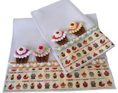 Kit 2 Panos de Prato Cupcake de Crochê