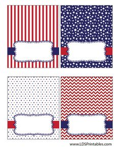 Free 4th of July food tent labels