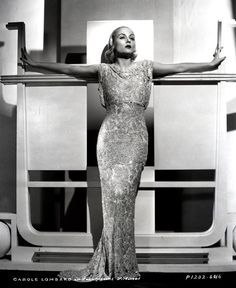 Carole Lombard, by Otto Dyar, 1931.  ~ So Art Deco ~ Love this set up ~ Gown is beautiful, too! ~ NMB ~