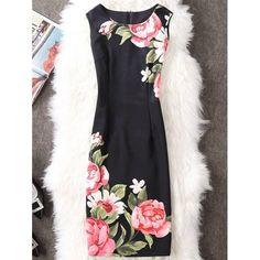 Flower Print Slit Sleeveless Pencil Dress