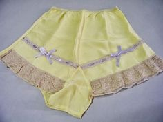 Yellow tap pants or French knickers. frilly lingerie, underg…, You can collect images you discovered organize them, add your own ideas to your collections and share with other people. Vintage Underwear, Vintage Lingerie, Rita Hayworth, 1930s Fashion, Vintage Fashion, Marcel Rochas, Frilly Knickers, Vintage Outfits, Vintage Dress