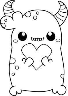 useless-trinkets-digi-stamps-beans-the-monster-with-heart-by-jessa-feig drawings digital Cuties Monster Coloring Pages, Cute Coloring Pages, Coloring Pages For Kids, Coloring Books, Monster Drawing, Monster Art, Simple Doodles, Cute Doodles, Doodle Art Drawing