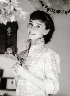 "Audrey Hepburn photograped by Milton H. Greene at her Villa (outside Rome) especially for the American magazine ""Look"", during a break in the filming of ""War and Peace"", on August 08, 1955."