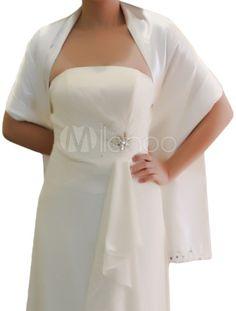 Châle de mariage Chic blanche de mariée Satin -No.1