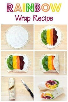 Healthy Meals For Kids How to make a rainbow wrap - this step by step rainbow tortilla wrap recipe is a great healthy fun food idea for kids packed lunches and bento boxes Kids Packed Lunch, Healthy Packed Lunches, Healthy Eating Recipes, Healthy Snacks For Kids, Clean Eating Snacks, Lunch Recipes, Healthy Food, Healthy Cooking, Lunch Kids