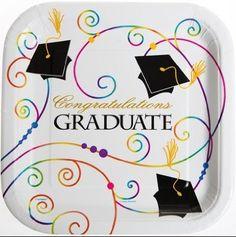 Amazon.com: Congratulations Graduate Graduation Paper Plates 8 Count 9 Inch Square: Toys & Games