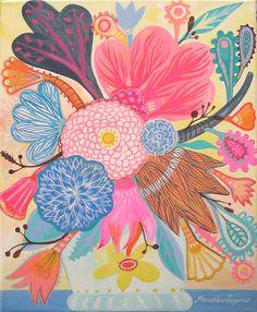 Pastel flowers 2 by Mercedes Lagunas #flowers