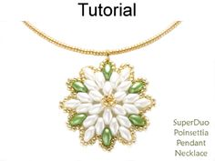 Beaded SuperDuo Poinsettia Necklace Christmas Holiday Beading Pattern Tutorial by Simple Bead Patterns   Simple Bead Patterns