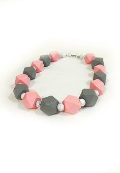 Pink White Howlite Necklace
