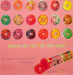 Andy Warhol, Ad for Life Savers Candy, 1985. Screenprint.