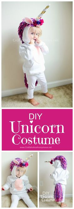 Unicorn Costume DIY Tutorial :: Such a cute handmade Halloween costumes idea for kids!