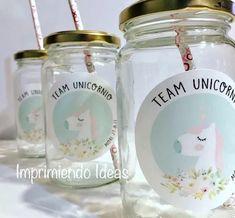 Frascos Con Vinilos Decorados Souvenirs/cotillon/ Unicornios