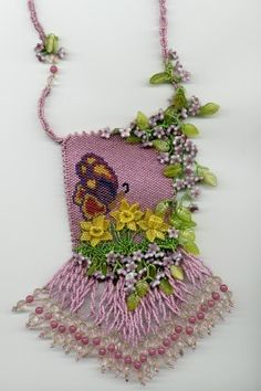 Daffodil and Butterfly Amulet Bag Award winning design Best of bag. Oregon State Fair 2005 $200.00 sold