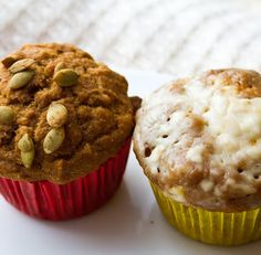 Two Lil' (vegan) Pumpkin Muffins Sittin' on a Plate..