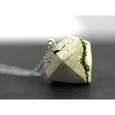Concrete Real Moss necklace. Large diamond shaped concrete pendant... ($24) ❤ liked on Polyvore featuring jewelry, long pendant, concrete pendant, pendant jewelry, concrete jewelry and cement jewelry