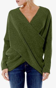 249b2573e0 Gjyia Womens Deep V-Neck Knit Sweater Manica Lunga a Pipistrello Cross  Anteriore Wrap Pullover Top Asimmetrico Hem Orlo Tinta Unita Winter Loose  Jumper