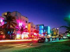 Miami's South Beach (SoBe) Florida, the art deco district of hotels and bars where the rich and famous mingle with the tourists.