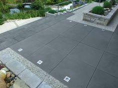 Greyline / concrete slab - All For Garden Garden Deco, Terrace Garden, Backyard Patio, Backyard Landscaping, Terrace Tiles, Paving Ideas, Sloped Garden, Concrete Slab, Concrete Garden