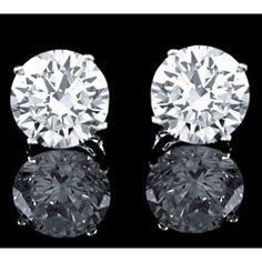 1.90 Ctw Brilliant Round Cut Basket Screwback Earrings Solid Real 14K White Gold by JewelryHub on Opensky