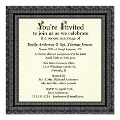 Post Wedding Party Invitations | ... invitation template a formal look designed as a post wedding reception