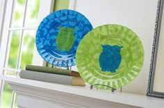 Mod Podged DIY owl plates - use glass plates from the dollar store!