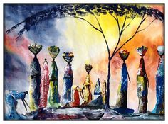 Village Celebration - P29 This beautiful original acrylic painting of a Ugandan celebration was Painted by Ugandan Artists, Davis Muwumba