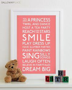 Girl Baby Nursery Print Kids Art Wall Decor - Playroom Rules Family Sign