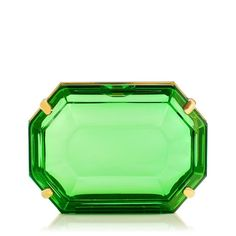 Ladies everywhere will go green with envy over A Girl's Best Friend. This emerald-shaped perspex clutch box in brass casing is truly a gem of an accessory. |Charlotte Olympia