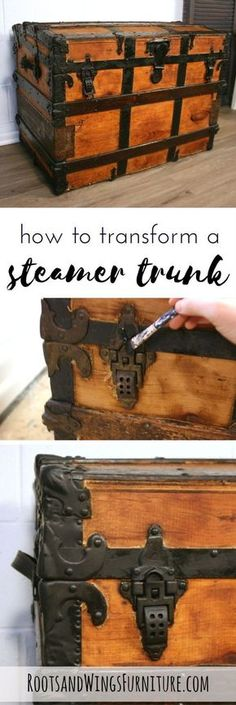Completely refinish a steamer trunk inside and out with a few easy steps! By Jenni of Roots and Wings Furniture. #rootsandwingsfurnture #diy #paintedfurniture #modernfarmhouse #farmhousedecorating