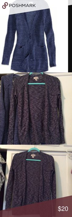 American eagle and MUDD cardigan LOT!!! Super cute and perfect for the fall and winter time!!!MUDD one is a heather charcoal gray and the American eagle one is a beautiful blue!!MUDD and American eagle cardigans both originally 40$ American Eagle Outfitters Sweaters Cardigans