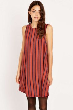 Urban Outfitters Coral Stripe Swing Dress - Urban Outfitters