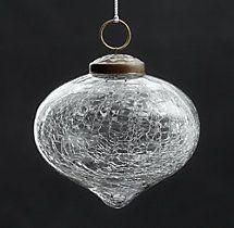 Vintage Hand-Blown Glass Ornament Onion - Silver