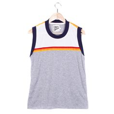 RANDY MUSCLE TEE - SMALL / HEATHER GREY / VINTAGE WHITE / SUNSET TRIM - CAMP Collection - 1