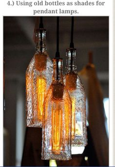 Use old bottles as lamp shades