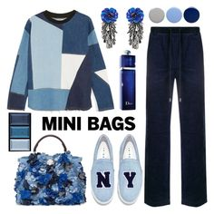 """""""Mini Bags - Blue Casual Look"""" by sarina-noel ❤ liked on Polyvore featuring Fendi, Blood Brother, Joshua's, Victoria, Victoria Beckham, Forest of Chintz, Burberry, Christian Dior, Clé de Peau Beauté, Blue and minibags"""