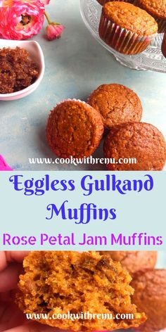 Eggless Gulkand Muffins are flavourful, moist, nutty and delicious muffins bursting with flavours from Gulkand aka Edible Rose Petal Jam and Cardamom. Muffin Recipes, Baking Recipes, Breakfast Recipes, Cupcake Recipes, Bread Recipes, Snack Recipes, Dessert Recipes, Rose Petal Jam, Types Of Cakes