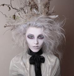 Tim Burton inspired make up by White Rabbit mua. Stephy H White Grey hair avant guard hollow eyes creepy white eyelashes