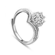 Simple Elegant 925 Sterling Silver Finger Ring, with Micro Pave AAA Zircon Chevron and Drop, Platinum; Size:about 18mm inner diameter(Adjustable), 11mm wide.<br/>Priced per 1