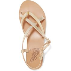 Ancient Greek Sandals Semele metallic leather sandals ($140) ❤ liked on Polyvore featuring shoes, sandals, strappy sandals, strappy flats, strappy leather sandals, metallic strappy sandals and leather sandals
