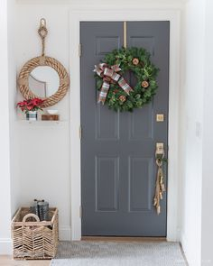 A Christmas wreath with plaid bow and bells and bells on a rope door hanger are perfect for decorating the door we go in and out of every day! Christmas Tree Decorations Ribbon, Silver Christmas Tree, Christmas Porch, Christmas Wreaths, Christmas Stuff, Christmas 2019, Christmas Recipes, Christmas Decor, Pre Lit Wreath