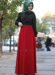 Straight Oblique Skirt - Red - Pinar Sems, to buy