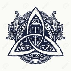 Dragons and Celtic knot, tattoo and t-shirt design. Dragons, symbol of the Viking. Helm of Awe, aegishjalmur, celtic trinity Trinity Knot Tattoo, Celtic Knot Tattoo, Celtic Tattoos, Viking Tattoos, Celtic Tattoo For Women, Viking Dragon Tattoo, Irish Tattoos, Celtic Knots, Buddha Tattoos